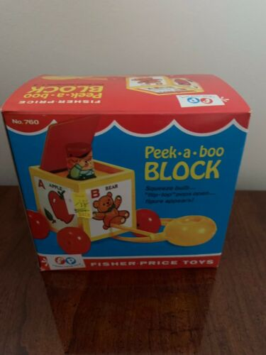 VINTAGE FISHER PRICE PEAK A BOO BLOCK PULL TOY1970 WORKS ORIGINAL BOX 760 GUC