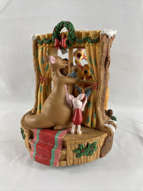 Winnie The Pooh Musical Figurine-1995 Christmas at our house The Disney Store