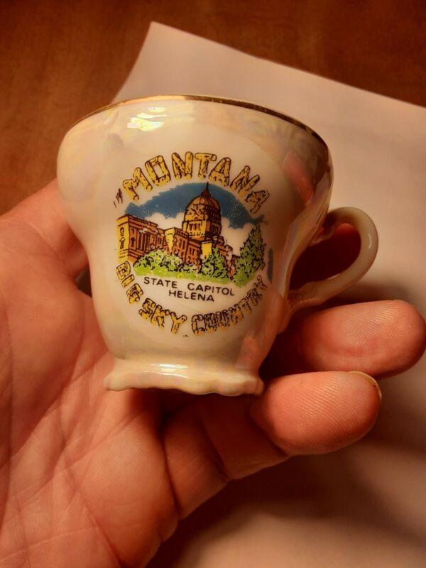 Vintage Miniature Cup Montana Souvenir Collectible Ceramic Big Sky Country