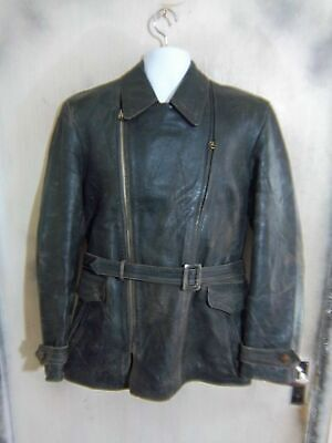 VINTAGE 40's Leather Motorcycle Jacket Size M Ruhr Zip