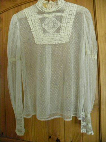 VINTAGE HAND MADE COTTON CROCHET NET HIGH NECK  BLOUSE SIZE MEDIUM