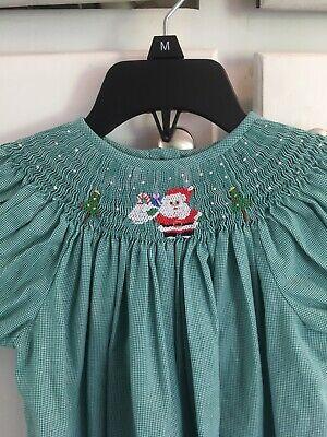 Green Santa Dress (Green Gingham Smocked Santa Claus Christmas Dress Size 4T Amanda)