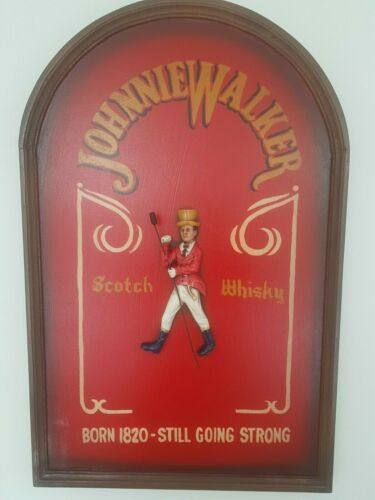 Extremely Rare! Johnnie Walker Wooden 3D Advertising Sign Board Big version