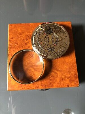 Reproduction Brass Compass 40 Year Calendar Compass with Magnifier With Box