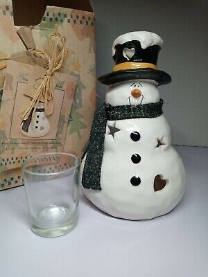Crazy Mountain Snowman Crackled Metal Detail Candle Holder W/box