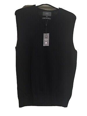 BNWT MENS M&S COLLECTION Black MERINO BLEND SLEEVELESS Sweater SIZE Medium