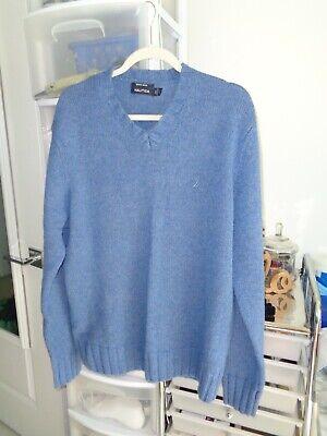 NWOT Nautica Merino Wool V-Neck  Pullover Sweater - Blue Large L