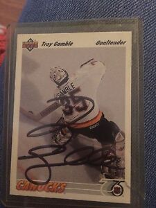 Signed Troy gamble Canucks card