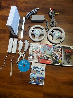 Nintendo Wii Console Mario Kart Bundle with 6 games, 2 remotes, 2 wheels zelda