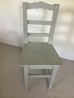 Shabby Chic Antique Painted Medium Wooden Chair, Light Grey Distressed.