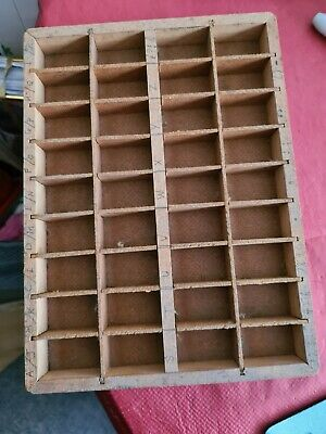 Vintage Letter Press Type Print Tray Wood Mini. Good Condition.