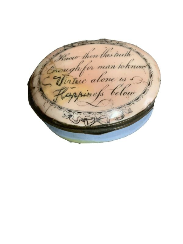 Antique Georgian, Staffordshire, Bilston Battersea Pill Patch Box