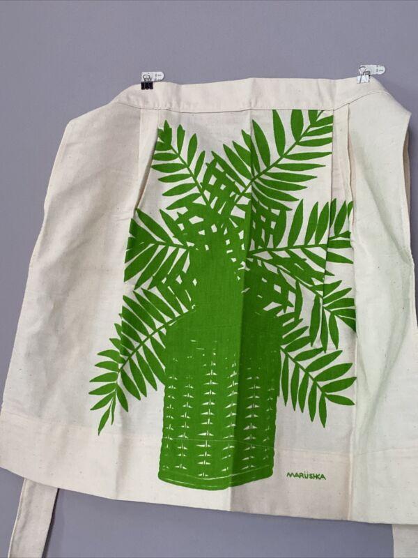 Vintage Marushka Screen Print Apron Ferns EUC Textile Art