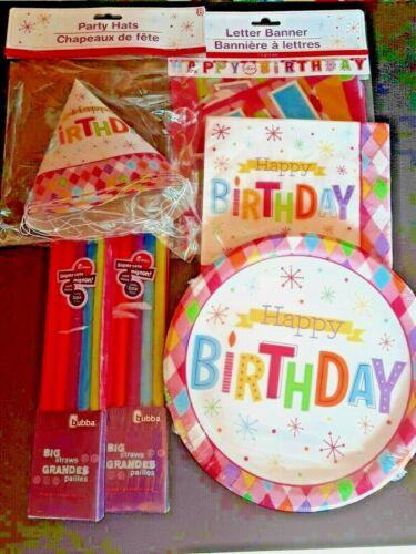 Happy Birthday Party Kit 18 Plates 20 Napkins 8 Hats10 Straws Banner