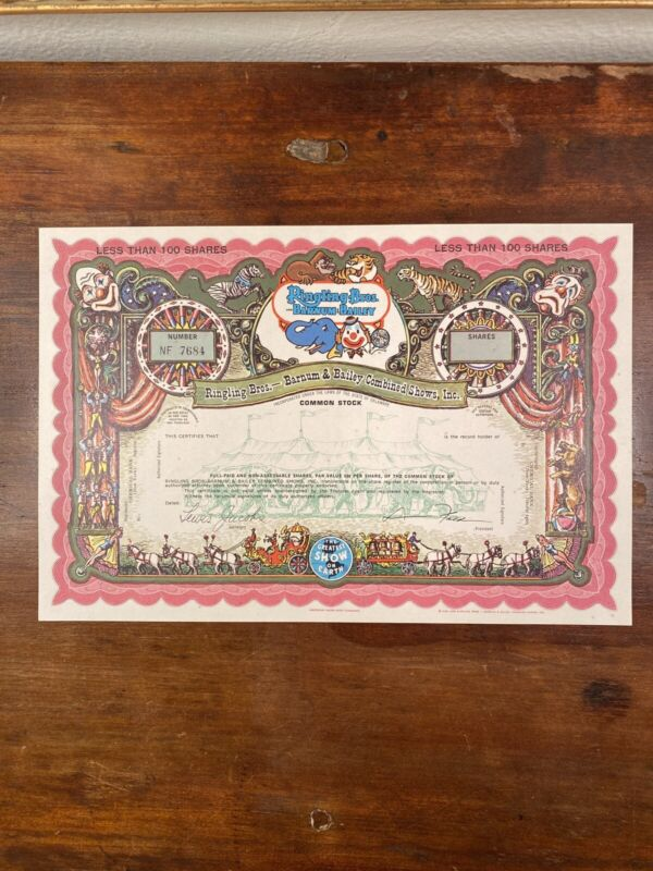 Ringling Bros. and Barnum & Bailey Stock Certificate - SPECIMEN (Red)