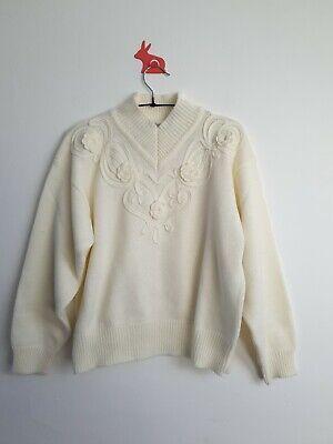 ST MICHAELS Size 12/14 Vintage Cream Knit High Neck Pullover Jumper