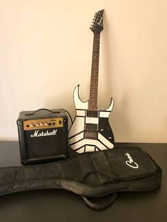 Ibanez Electric Guitar w Soft Case + 10 Watt Marshall Amplifier