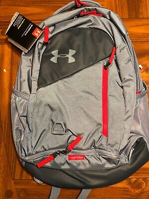 Under Armour UA Hustle 4.0 Backpack Ash Gray / Red Bag Laptop School 1342651-013