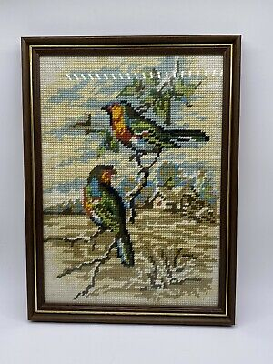 Unique Vintage Framed Rectangular Tapestry with Striking Colour Birds 12