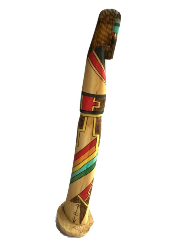 Navajo Kachina Signed Lee Tsosie Rainbow Long Haired Hand Carved Cotton Wood
