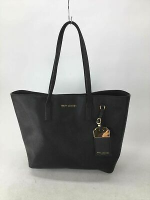 Marc Jacobs Black Crossgrain Leather Tote Handbag
