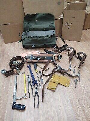 Buckingham Utilty Lineman Pole Climbing Gear Kit Spikes Belt Safety Strap Bag 6