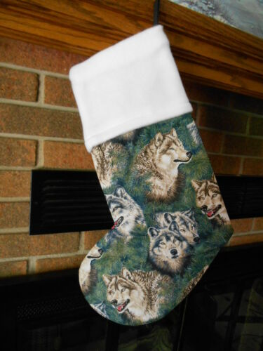 WOLVES IN PINE, Wolf, HANDMADE CHRISTMAS STOCKING *FREE SHIP