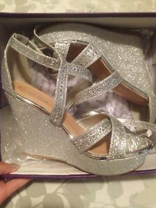 Size 7 blingy wedge sandals