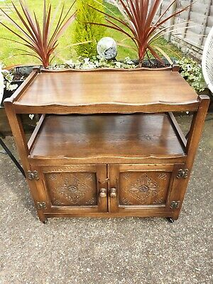 Old Charm Oak Trolley Table Sideboard Media Unit Drinks Cabinet On Castors  na sprzedaż  Wysyłka do Poland