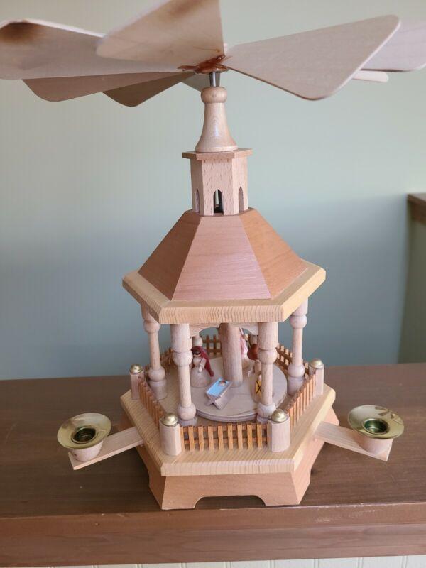 Vintage German Nativity Carousel Pyramid Handmade