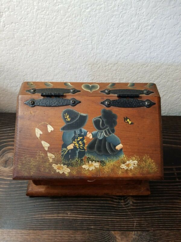 Vintage Handpainted Wood Recipe Box Index Folk Art Country Homemade