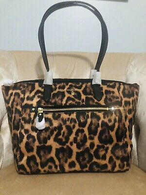 NWT Michael Kors Kelsey Medium Tote Purse Bag Handbag Nylon Leopard Brown Black