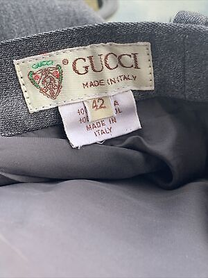 VINTAGE 1980s Gucci Slim Fit Dress Pants - Men Gray Wool Pant Slacks