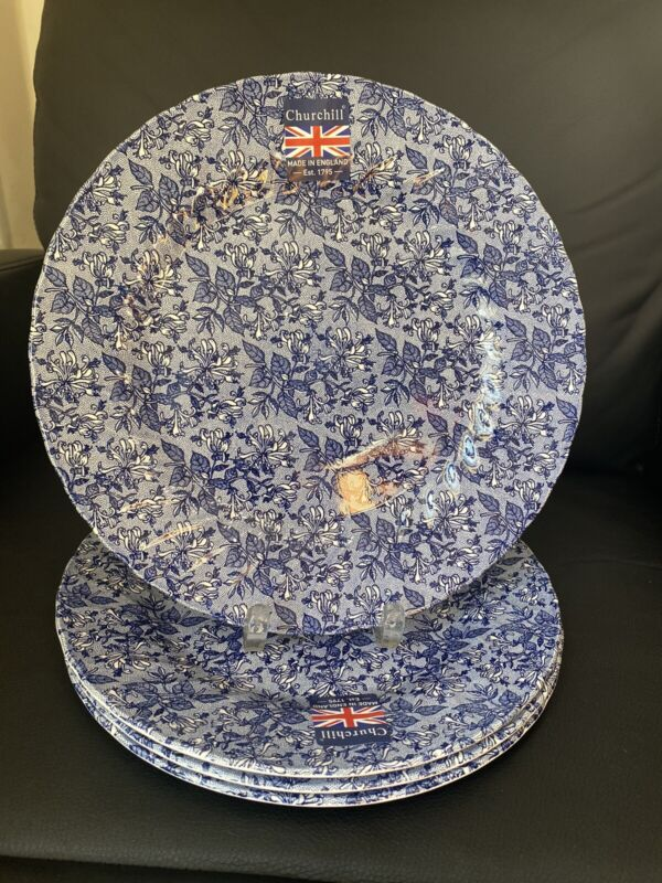 churchill dinner plates Blue Made In England Set Of 4