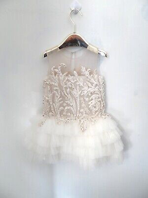 Mischka Aoki Couture Beaded Girls Party Tulle Lace Embroidered Dress Size 5