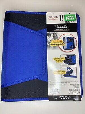 Five Star Zipper Binder 1.5 500 Sheet Zipper Pocket Durable Interior Blue