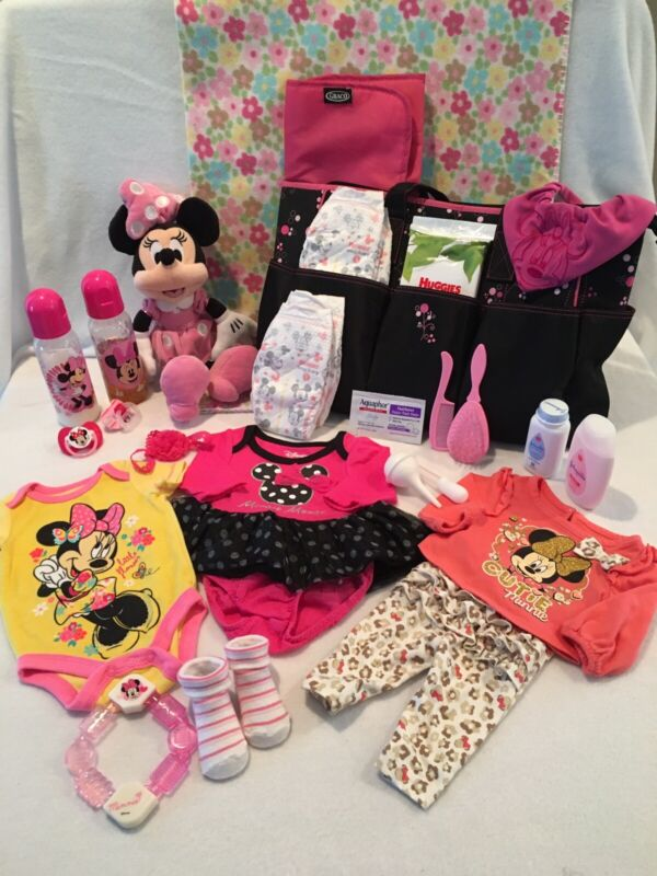 Reborn Baby Minnie Mouse Diaper Bag W/bottles, pacifiers, Accs