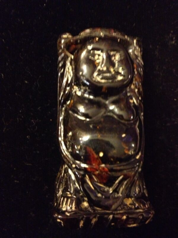Antique/Vintage Carved Amber Hotei Buddha!
