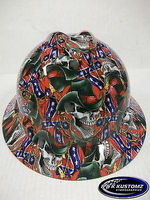 Rebel Cowboy Pattern New Custom Msa V-gard Full Brim Hard Hat Wfastrac