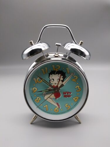 Vintage 1998 Betty Boop Twin Bell Ringer Alarm Wind Up Clock