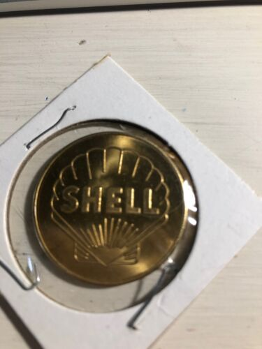 VINTAGE SHELL GAS & OIL GIVE AWAY BRASS MEDAL TOKEN COIN