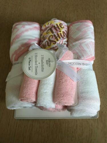 Modern Baby 3 Pack Hooded Towel & 3 Wash Cloths Gift Set Pink