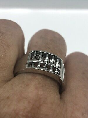 Vintage Abacus Mens Ring Stainless Steel Size 12