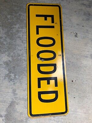"""VINTAGE TIN YELLOW BLACK FLOODED HUNTING FISHING SIGN EXC 36""""-12"""" inches"""