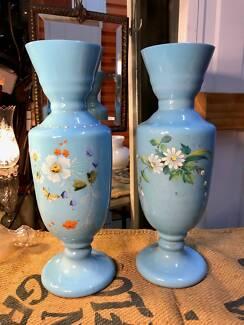 Pair of Antique English Victorian Milk Glass Mantle Vases