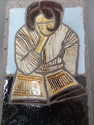 PENSIVE WOMAN READING GLAZED 1950S TILE HAND PAINTED ON  LAVA STONE  bibliophile