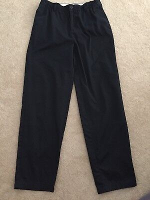 Lands' End Youth Boys Black Dress Pants 30x31 Elastic Zip Waist EUC