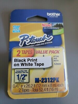 Double Pack Brother P-touch Label Maker M-tape 12 Inch Black On White M-2312pk