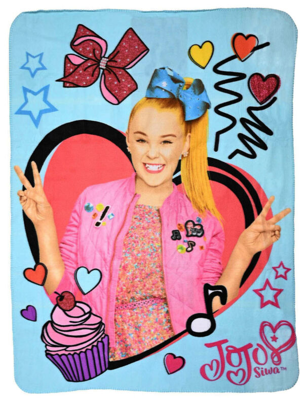 "Girls Jojo Siwa Fleece Throw Blanket 45""x60"" Hearts Bows"
