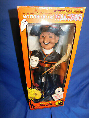 Telco Halloween Battery Operated Witch Motionette With Skull & Broom Working! Battery Operated Broom